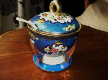 RARE VINTAGE ORIENTAL SAUCE POT LID & SPOON SAMURAI CHINA JAPAN BLUE GOLD FLORAL